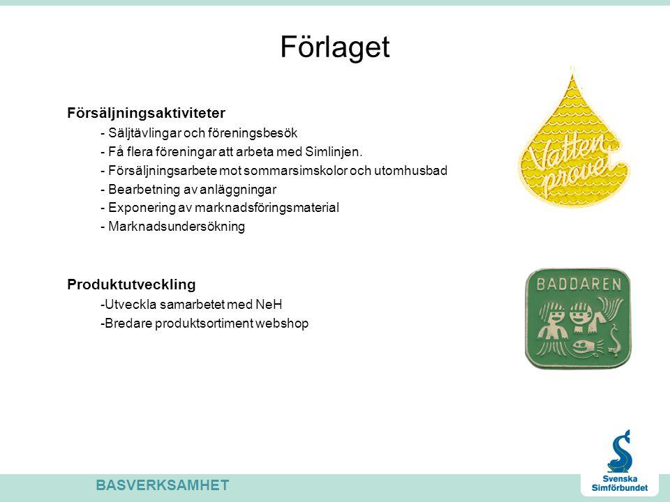 Förlaget Försäljningsaktiviteter - Säljtävlingar och föreningsbesök - Få flera föreningar att arbeta med Simlinjen. - Försäljningsarbete mot sommarsim