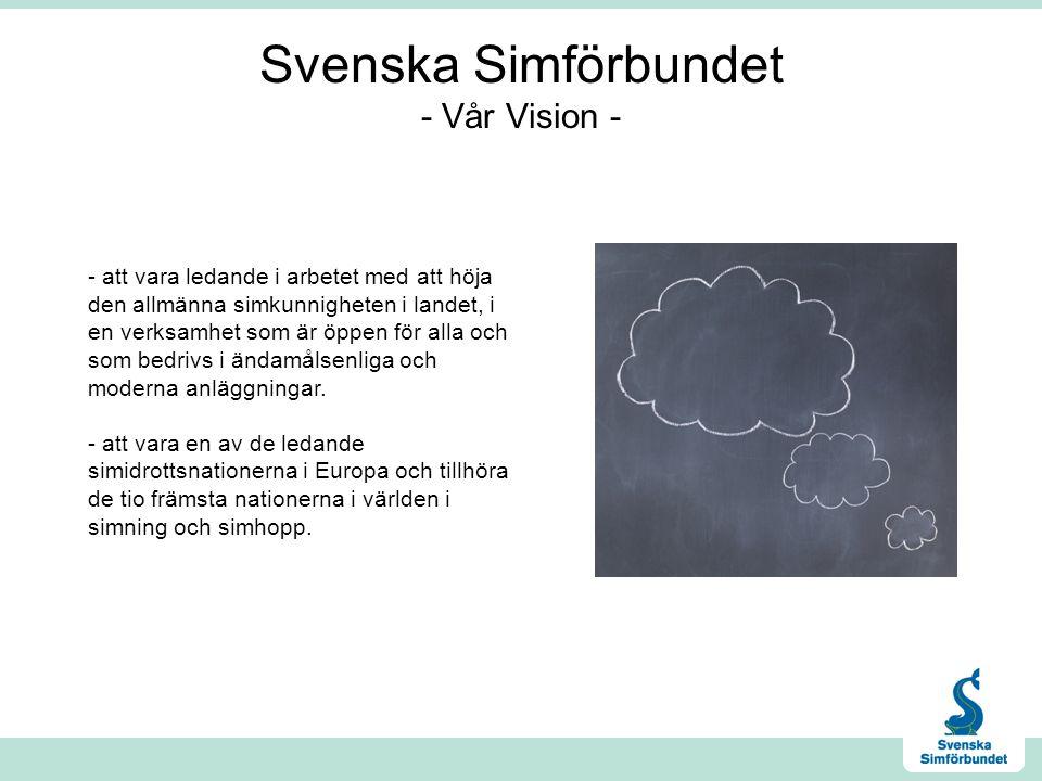Svenska Simförbundet - Vår Vision - - att vara ledande i arbetet med att höja den allmänna simkunnigheten i landet, i en verksamhet som är öppen för alla och som bedrivs i ändamålsenliga och moderna anläggningar.