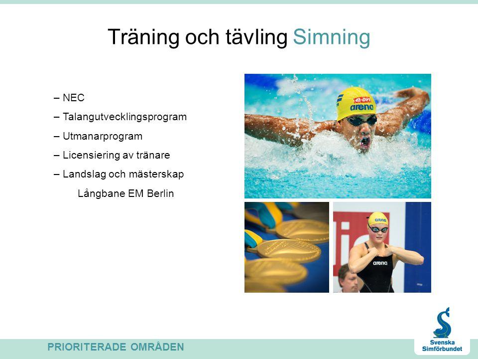 Träning och tävling Simning – NEC – Talangutvecklingsprogram – Utmanarprogram – Licensiering av tränare – Landslag och mästerskap Långbane EM Berlin P