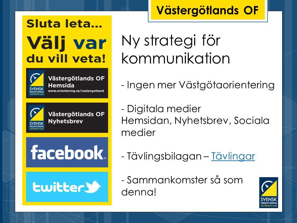Ny strategi för kommunikation - Ingen mer Västgötaorientering - Digitala medier Hemsidan, Nyhetsbrev, Sociala medier - Tävlingsbilagan – Tävlingar - Sammankomster så som denna!Tävlingar