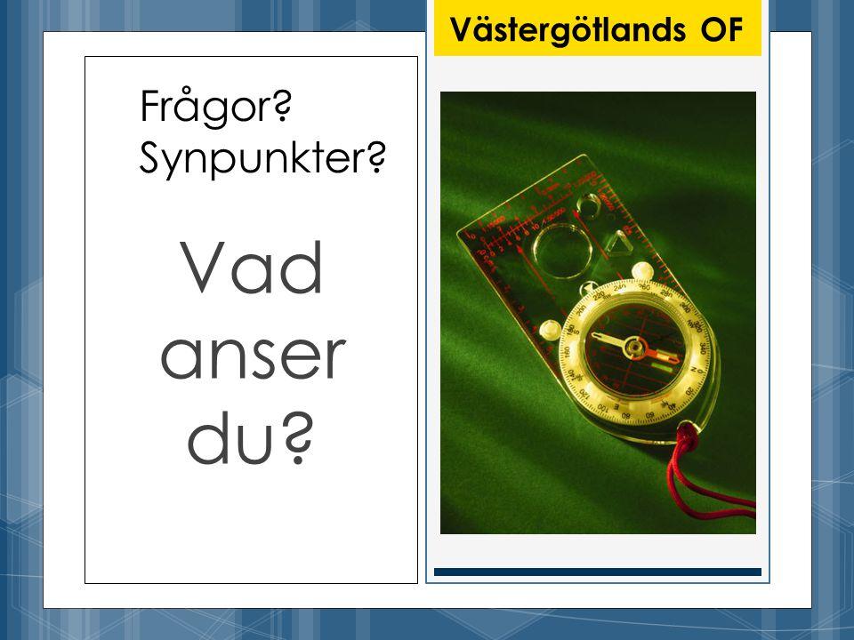 Frågor Synpunkter Vad anser du Västergötlands OF