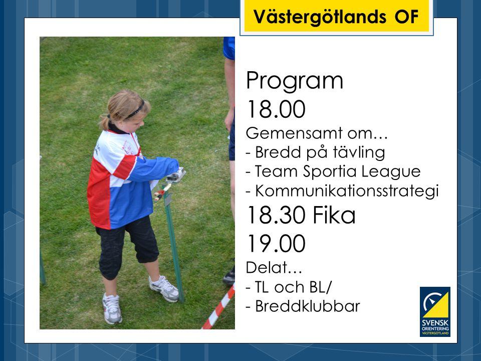 Program 18.00 Gemensamt om… - Bredd på tävling - Team Sportia League - Kommunikationsstrategi 18.30 Fika 19.00 Delat… - TL och BL/ - Breddklubbar Västergötlands OF