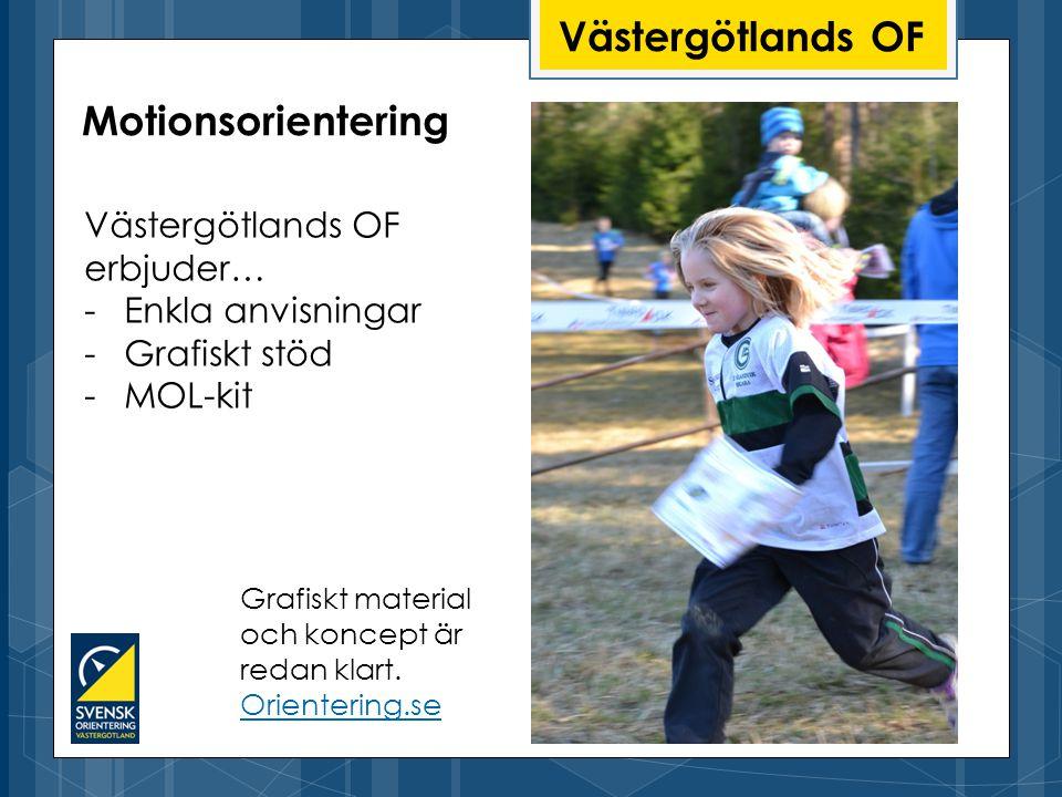 Västergötlands OF Västergötlands OF erbjuder… -Enkla anvisningar -Grafiskt stöd -MOL-kit Motionsorientering Grafiskt material och koncept är redan klart.