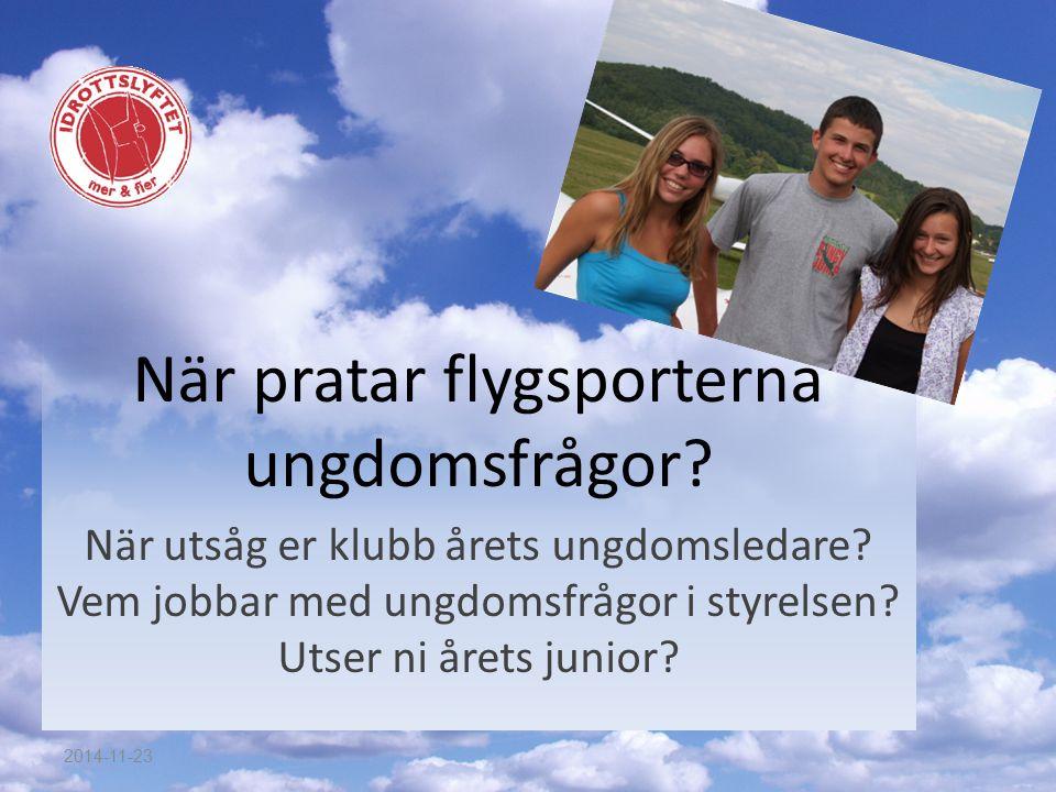 När pratar flygsporterna ungdomsfrågor. När utsåg er klubb årets ungdomsledare.