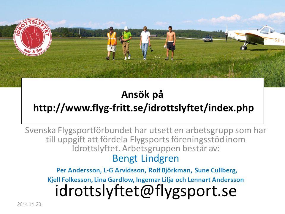 Ansök på http://www.flyg-fritt.se/idrottslyftet/index.php Svenska Flygsportförbundet har utsett en arbetsgrupp som har till uppgift att fördela Flygsp