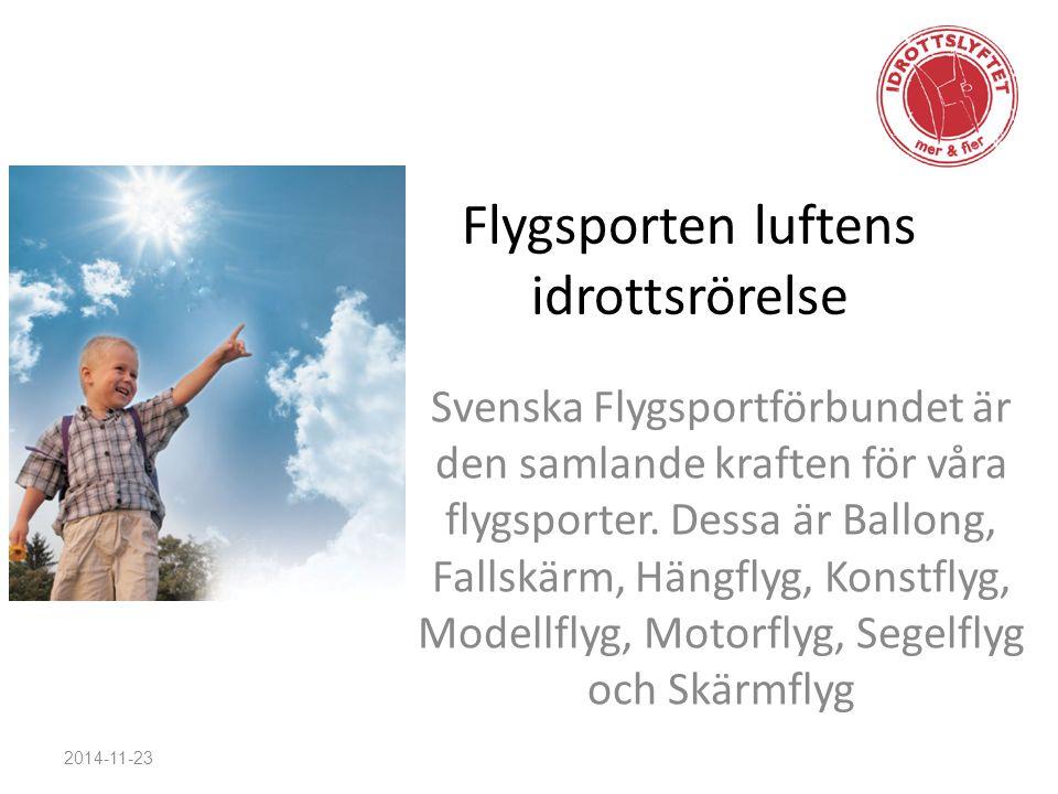 Flygsporten luftens idrottsrörelse Svenska Flygsportförbundet är den samlande kraften för våra flygsporter. Dessa är Ballong, Fallskärm, Hängflyg, Kon