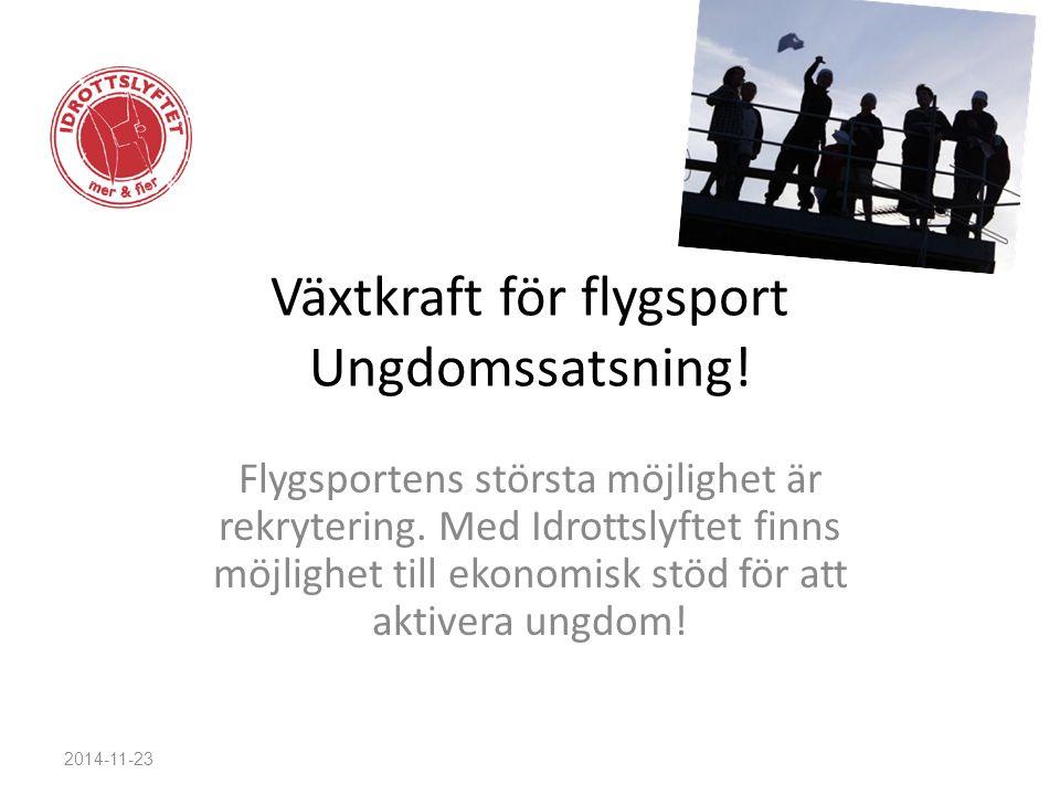 Växtkraft för flygsport Ungdomssatsning! Flygsportens största möjlighet är rekrytering. Med Idrottslyftet finns möjlighet till ekonomisk stöd för att