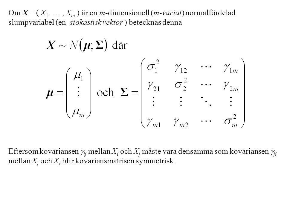 Multivariata normalfördelningar har flera mycket bra egenskaper Varje ingående endimensionell variabel är endimensionellt normalfördelad med motsvarande väntevärde och varians.