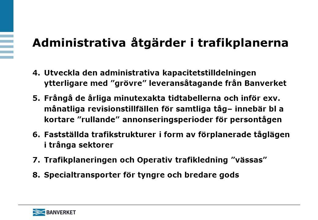 4.Utveckla den administrativa kapacitetstilldelningen ytterligare med grövre leveransåtagande från Banverket 5.Frångå de årliga minutexakta tidtabellerna och inför exv.