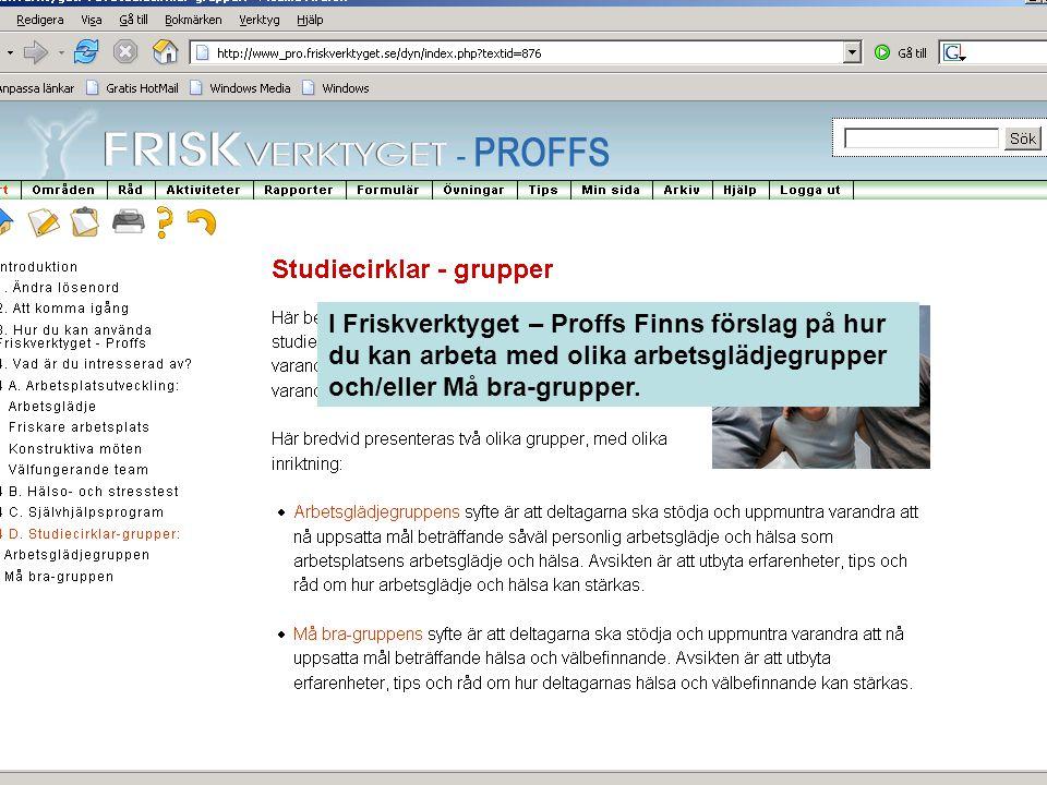I Friskverktyget – Proffs Finns förslag på hur du kan arbeta med olika arbetsglädjegrupper och/eller Må bra-grupper.