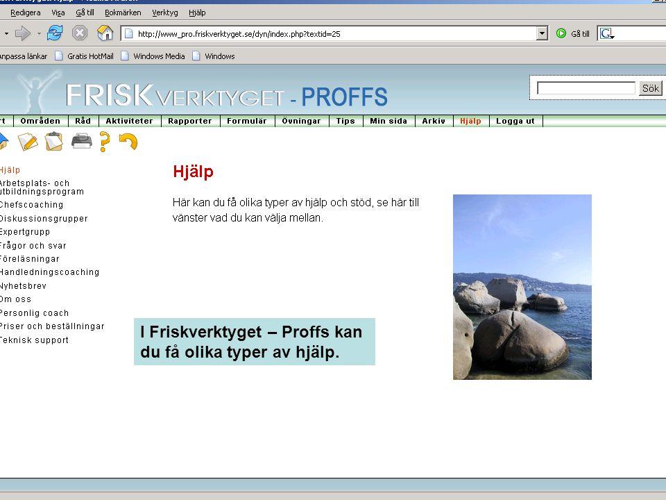 I Friskverktyget – Proffs kan du få olika typer av hjälp.