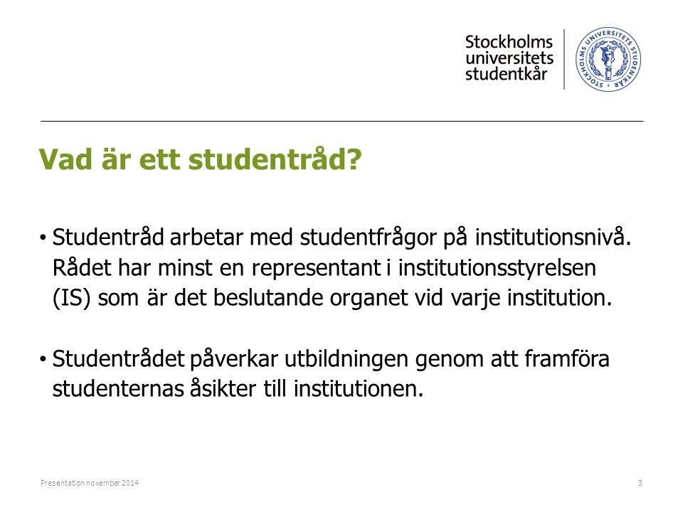 Vad är ett studentråd? Studentråd arbetar med studentfrågor på institutionsnivå. Rådet har minst en representant i institutionsstyrelsen (IS) som är d