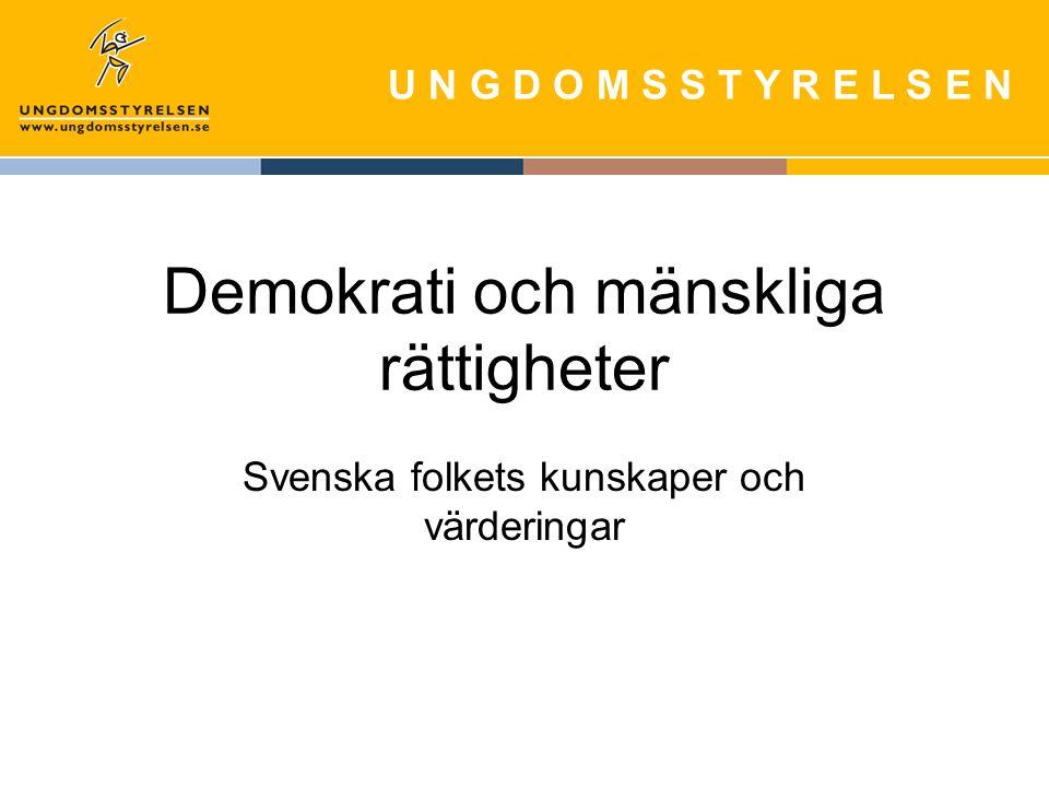 U N G D O M S S T Y R E L S E N Demokrati och mänskliga rättigheter Svenska folkets kunskaper och värderingar