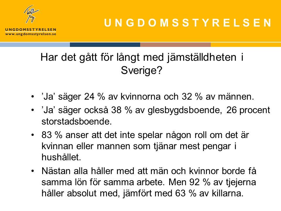 U N G D O M S S T Y R E L S E N Har det gått för långt med jämställdheten i Sverige.