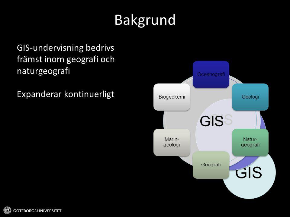 GIS Bakgrund GIS-undervisning bedrivs främst inom geografi och naturgeografi Expanderar kontinuerligt GÖTEBORGS UNIVERSITET GIS OceanografiGeologi Natur- geografi Geografi Marin- geologi Biogeokemi