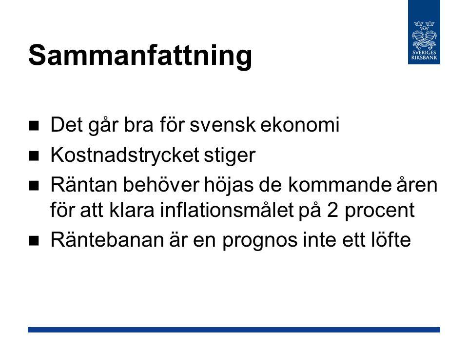 Sammanfattning Det går bra för svensk ekonomi Kostnadstrycket stiger Räntan behöver höjas de kommande åren för att klara inflationsmålet på 2 procent Räntebanan är en prognos inte ett löfte