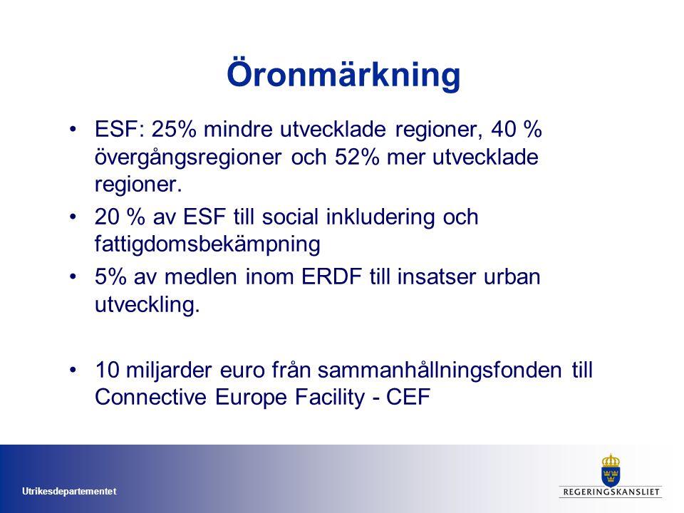 Utrikesdepartementet Öronmärkning ESF: 25% mindre utvecklade regioner, 40 % övergångsregioner och 52% mer utvecklade regioner. 20 % av ESF till social
