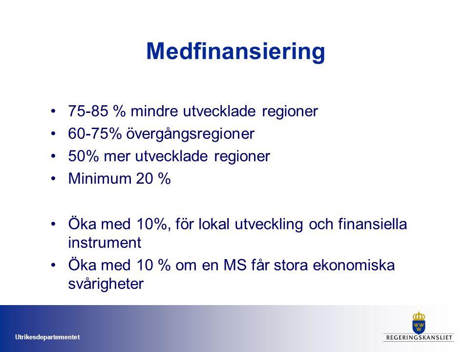 Utrikesdepartementet Medfinansiering 75-85 % mindre utvecklade regioner 60-75% övergångsregioner 50% mer utvecklade regioner Minimum 20 % Öka med 10%,