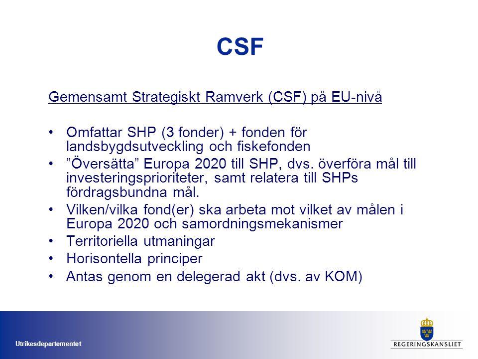 Utrikesdepartementet CSF Gemensamt Strategiskt Ramverk (CSF) på EU-nivå Omfattar SHP (3 fonder) + fonden för landsbygdsutveckling och fiskefonden Översätta Europa 2020 till SHP, dvs.