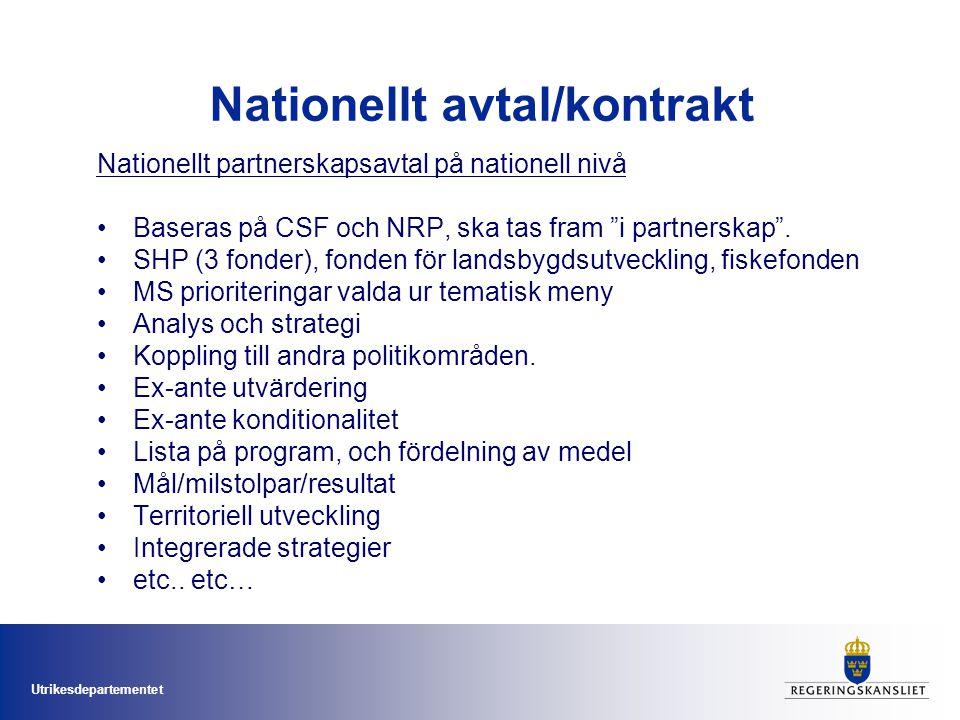 """Utrikesdepartementet Nationellt avtal/kontrakt Nationellt partnerskapsavtal på nationell nivå Baseras på CSF och NRP, ska tas fram """"i partnerskap"""". SH"""