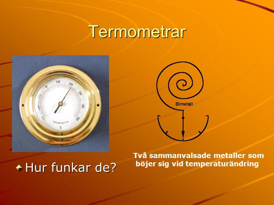 Termometrar Två sammanvalsade metaller som böjer sig vid temperaturändring