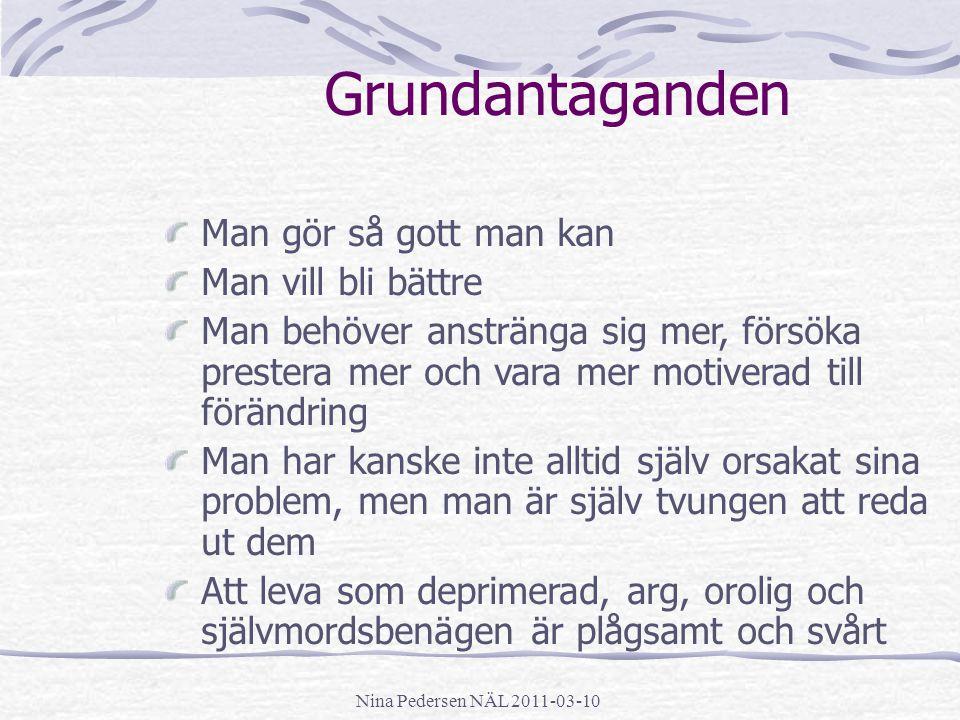 Nina Pedersen NÄL 2011-03-10 Grundantaganden Man gör så gott man kan Man vill bli bättre Man behöver anstränga sig mer, försöka prestera mer och vara