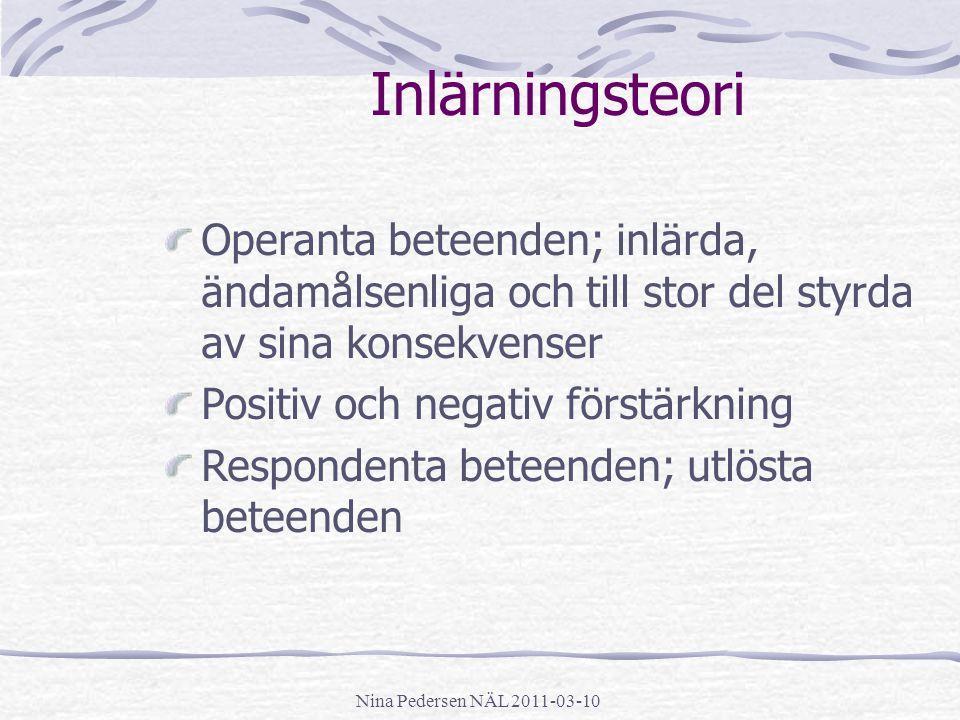 Nina Pedersen NÄL 2011-03-10 Inlärningsteori Operanta beteenden; inlärda, ändamålsenliga och till stor del styrda av sina konsekvenser Positiv och neg