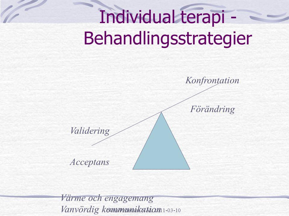 Nina Pedersen NÄL 2011-03-10 Individual terapi - Behandlingsstrategier Validering Acceptans Konfrontation Förändring Värme och engagemang Vanvördig ko