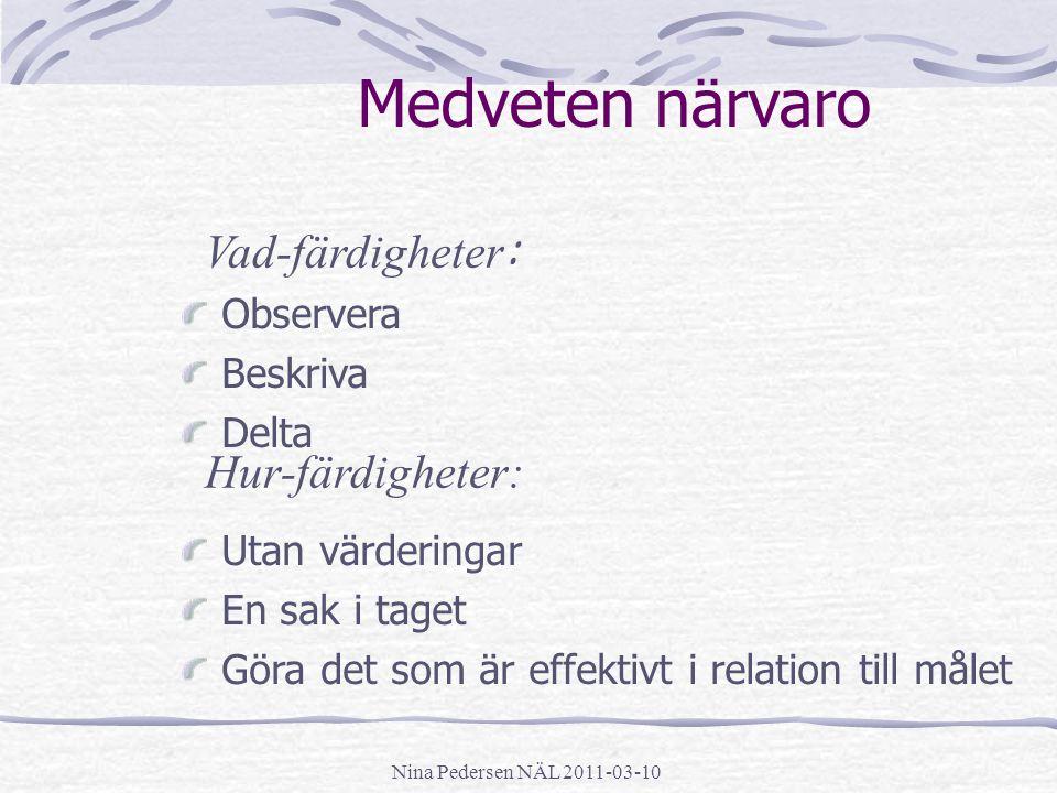 Nina Pedersen NÄL 2011-03-10 Medveten närvaro Observera Beskriva Delta Utan värderingar En sak i taget Göra det som är effektivt i relation till målet