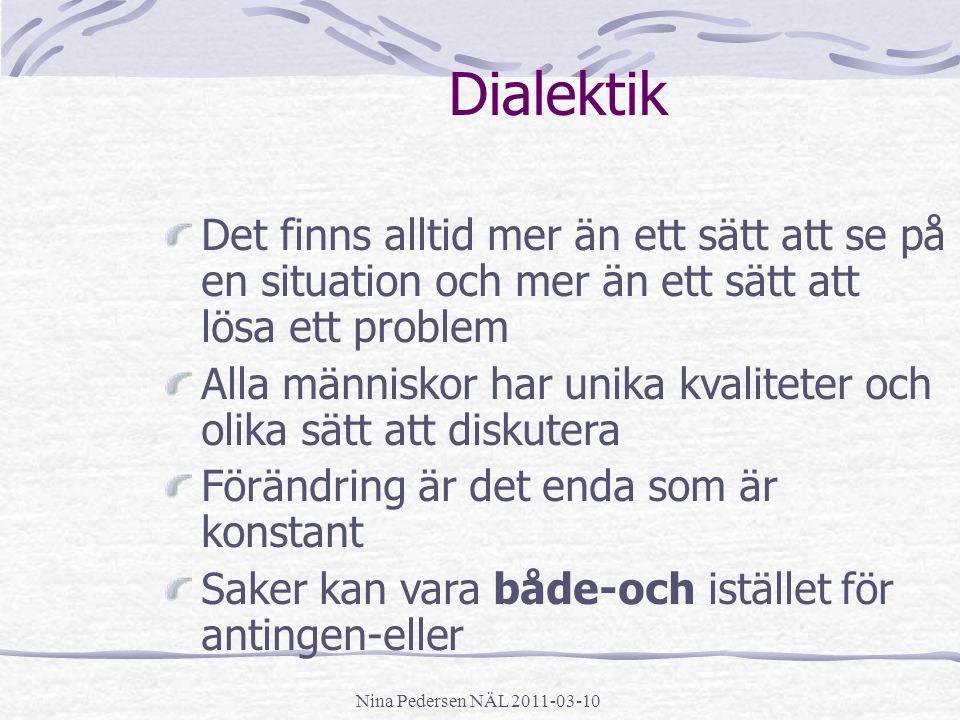 Nina Pedersen NÄL 2011-03-10 Dialektik Det finns alltid mer än ett sätt att se på en situation och mer än ett sätt att lösa ett problem Alla människor