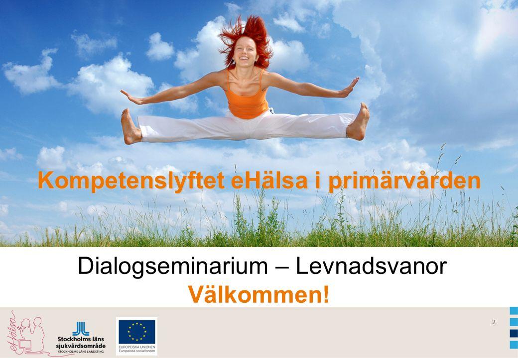 2 Kompetenslyftet eHälsa i primärvården Kompetenslyftet eHälsa i primärvården Dialogseminarium – Levnadsvanor Välkommen!