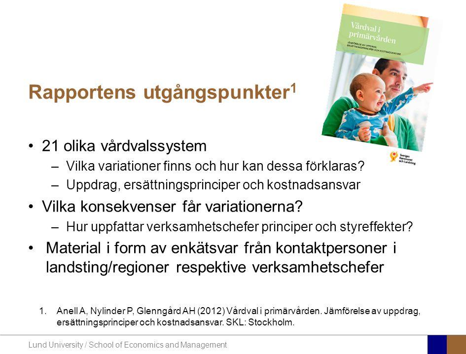 Lund University / School of Economics and Management Rapportens utgångspunkter 1 21 olika vårdvalssystem –Vilka variationer finns och hur kan dessa fö