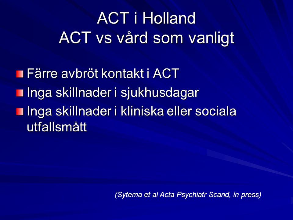 ACT i Holland ACT vs vård som vanligt Färre avbröt kontakt i ACT Inga skillnader i sjukhusdagar Inga skillnader i kliniska eller sociala utfallsmått (Sytema et al Acta Psychiatr Scand, in press)