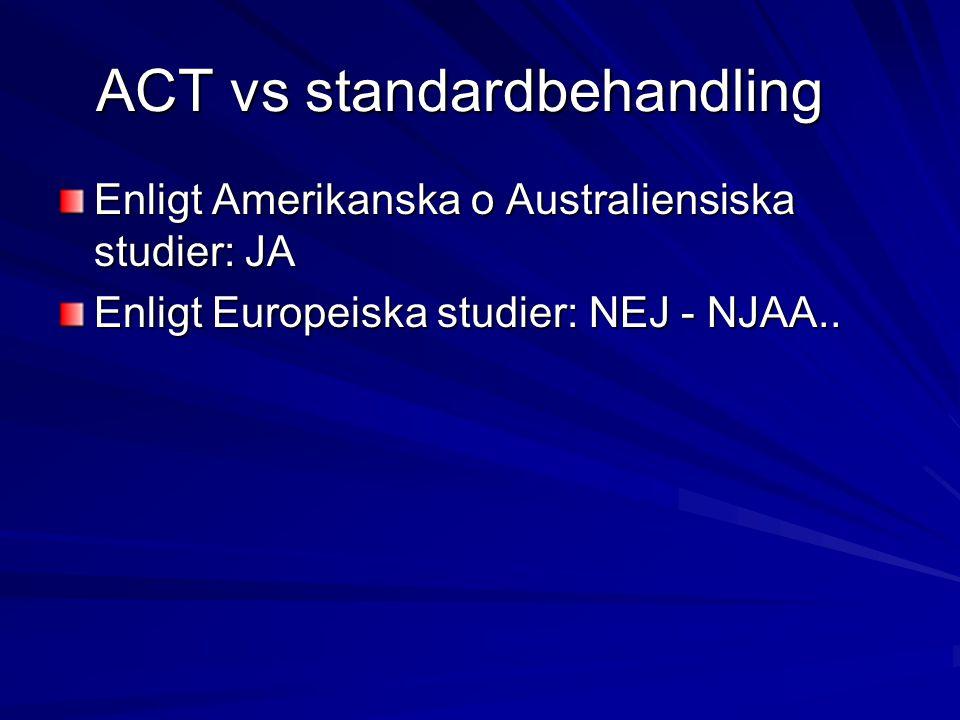 ACT vs standardbehandling Enligt Amerikanska o Australiensiska studier: JA Enligt Europeiska studier: NEJ - NJAA..