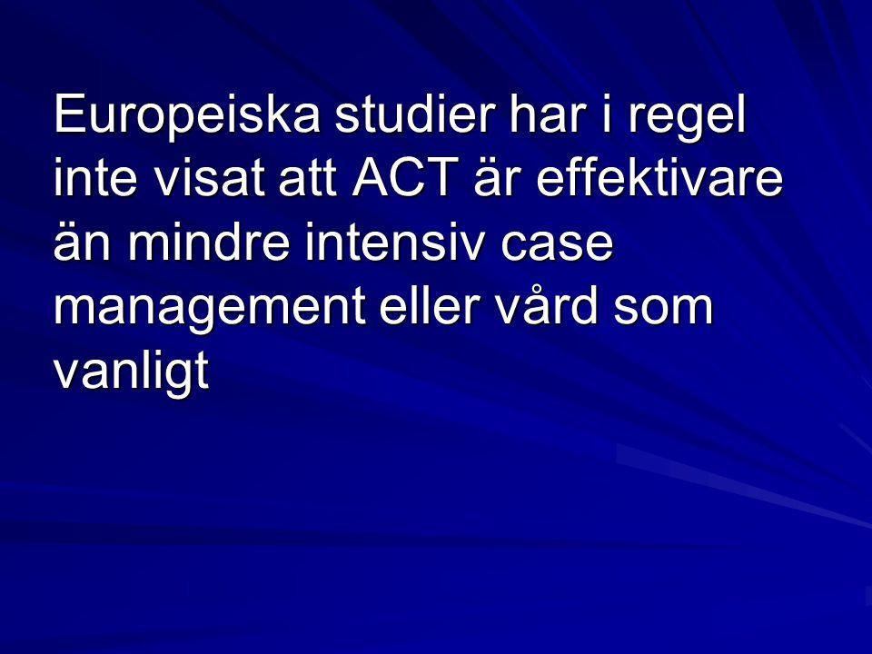Europeiska studier har i regel inte visat att ACT är effektivare än mindre intensiv case management eller vård som vanligt