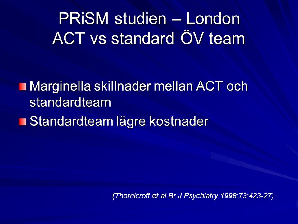 PRiSM studien – London ACT vs standard ÖV team Marginella skillnader mellan ACT och standardteam Standardteam lägre kostnader (Thornicroft et al Br J Psychiatry 1998:73:423-27)