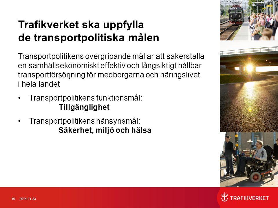 102014-11-23 Trafikverket ska uppfylla de transportpolitiska målen Transportpolitikens övergripande mål är att säkerställa en samhällsekonomiskt effek