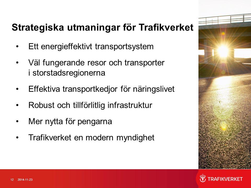 122014-11-23 Ett energieffektivt transportsystem Väl fungerande resor och transporter i storstadsregionerna Effektiva transportkedjor för näringslivet