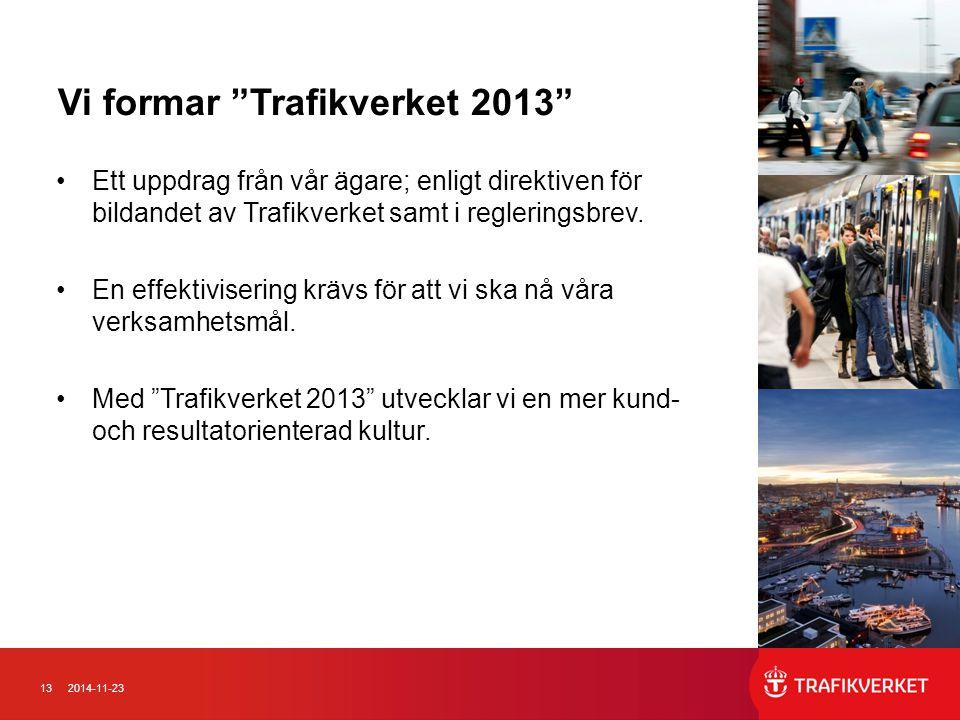 """132014-11-23 Vi formar """"Trafikverket 2013"""" Ett uppdrag från vår ägare; enligt direktiven för bildandet av Trafikverket samt i regleringsbrev. En effek"""