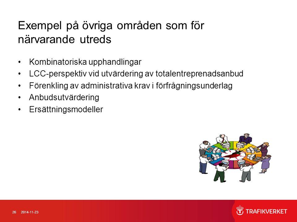 262014-11-23 Exempel på övriga områden som för närvarande utreds Kombinatoriska upphandlingar LCC-perspektiv vid utvärdering av totalentreprenadsanbud