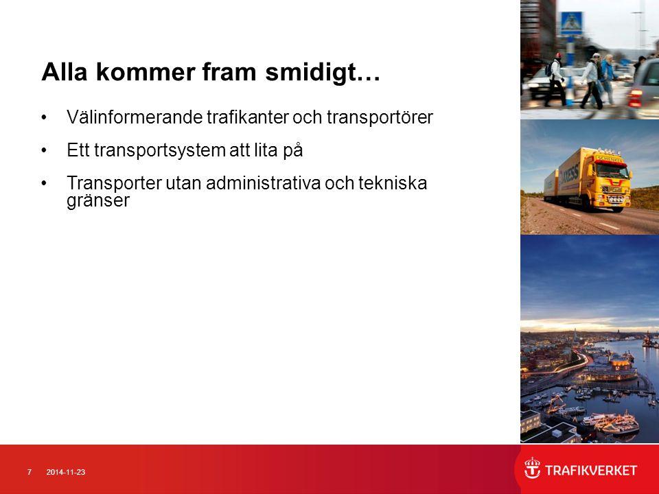 72014-11-23 Alla kommer fram smidigt… Välinformerande trafikanter och transportörer Ett transportsystem att lita på Transporter utan administrativa oc