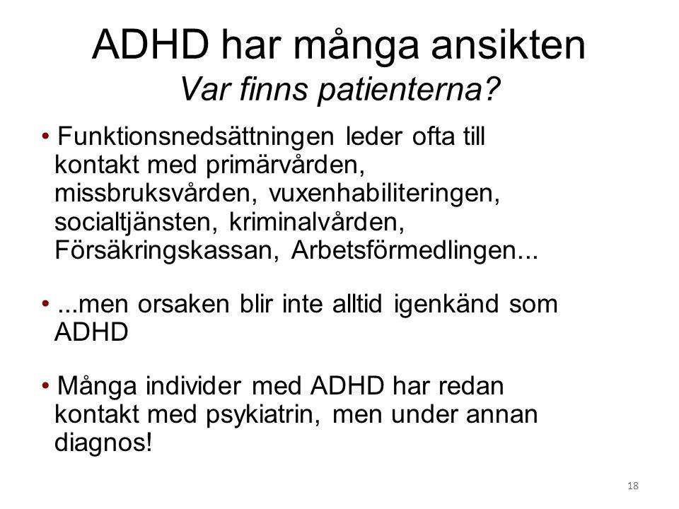 ADHD har många ansikten Var finns patienterna? Funktionsnedsättningen leder ofta till kontakt med primärvården, missbruksvården, vuxenhabiliteringen,
