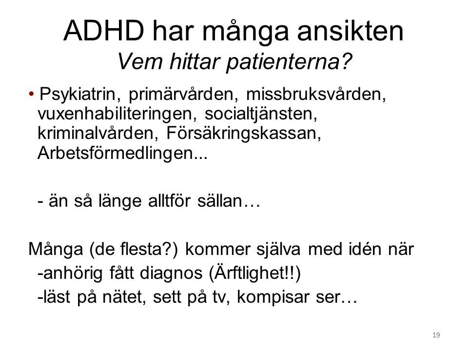 ADHD har många ansikten Vem hittar patienterna? Psykiatrin, primärvården, missbruksvården, vuxenhabiliteringen, socialtjänsten, kriminalvården, Försäk