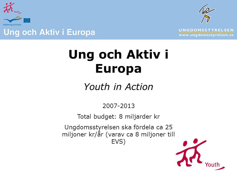 Ung och Aktiv i Europa Youth in Action 2007-2013 Total budget: 8 miljarder kr Ungdomsstyrelsen ska fördela ca 25 miljoner kr/år (varav ca 8 miljoner till EVS)