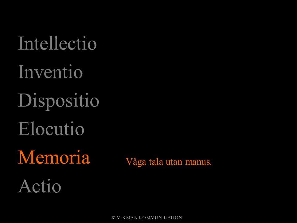 Intellectio Inventio Dispositio Elocutio Memoria Actio Våga tala utan manus. © VIKMAN KOMMUNIKATION