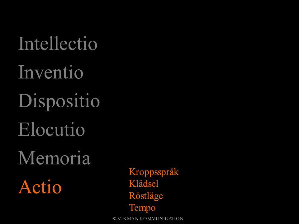 Intellectio Inventio Dispositio Elocutio Memoria Actio Kroppsspråk Klädsel Röstläge Tempo © VIKMAN KOMMUNIKATION