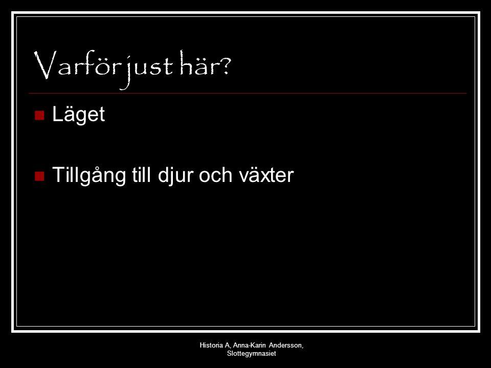 Historia A, Anna-Karin Andersson, Slottegymnasiet Varför gick man över till jordbruk.