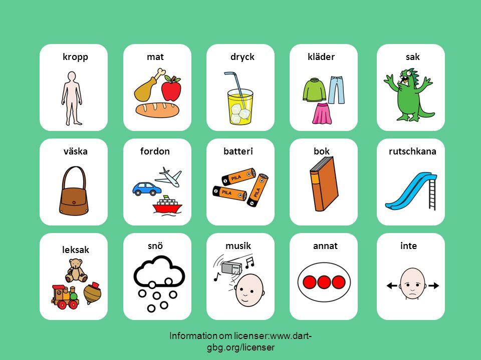 Information om licenser:www.dart- gbg.org/licenser kroppmatdryckklädersak väskafordonbatteribokrutschkana leksak snömusikannatinte
