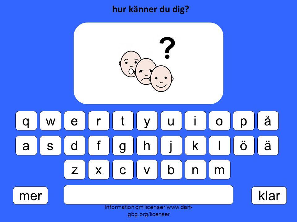 Information om licenser:www.dart- gbg.org/licenser qwertyuiopå asdfghjklöä zxcvbnm merklar hur känner du dig?