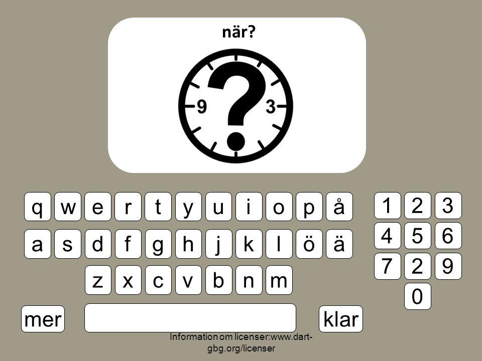 Information om licenser:www.dart- gbg.org/licenser när.